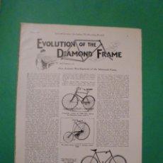 Coches y Motocicletas: TRES MODELOS DE BICICLETAS 1889 1892. Lote 67183053