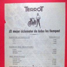 Coches y Motocicletas: TERROT , FOLLETO PUBLICITARIO CICLOMOTOR , MOTO , MOTOCICLETA , AUTOMÓVIL CONCESIONARIO VALENCIA. Lote 67468173