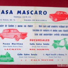 Coches y Motocicletas: CASA MASCARO , FOLLETO PUBLICITARIO , AUTOMÓVIL , VESPA , SEAT 600 , ALQUILER PALMA DE MALLORCA. Lote 67469121