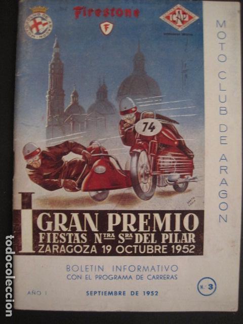 Coches y Motocicletas: I GRAN PREMIO MOTORISMO FIESTAS DEL PILAR -MOTOCLUB ARAGON -19 OCTUBRE 1952- -VER FOTOS -(V-7587) - Foto 2 - 67525501