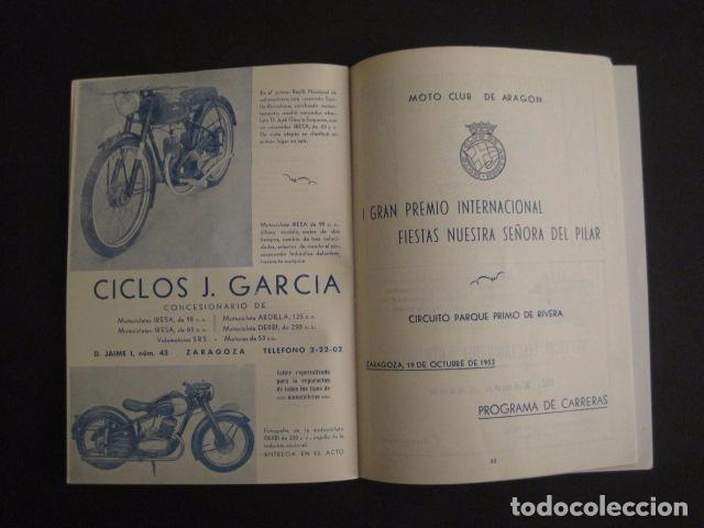 Coches y Motocicletas: I GRAN PREMIO MOTORISMO FIESTAS DEL PILAR -MOTOCLUB ARAGON -19 OCTUBRE 1952- -VER FOTOS -(V-7587) - Foto 8 - 67525501