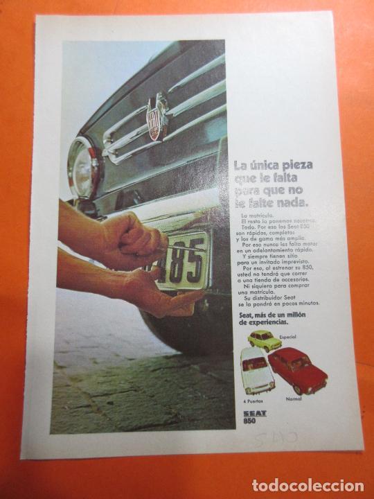 PUBLICIDAD 1970 - COLECCION COCHES - SEAT 850 (Coches y Motocicletas Antiguas y Clásicas - Catálogos, Publicidad y Libros de mecánica)