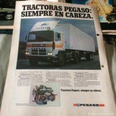 Coches y Motocicletas: PUBLICIDAD EN PRENSA DE CAMIONES PEGASO. AÑO 1982. BUEN ESTADO.. Lote 106987463