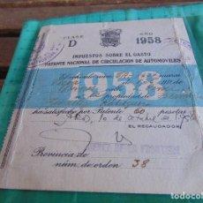 Coches y Motocicletas: IMPUESTO SOBRE EL GASTO PATENTE NACIONAL DE CIRCULACION DE AUTOMOVILES 1958 DE UNA VESPA. Lote 68537385