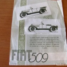 Coches y Motocicletas: FIAT 509 - TORPEDO NORMALE - SPIDER NORMALE - AÑO 1925 - PUBLICIDAD EN ITALIANO. Lote 68669593