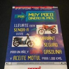 Coches y Motocicletas: FOLLETO CATALOGO PUBLICIDAD ORIGINAL MOTO DERBI SENDA-R VARIANT 1997. Lote 69666185