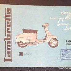 catalogo lista de precios lambretta 125-150 li scooterlinea special jet 200 de 1968