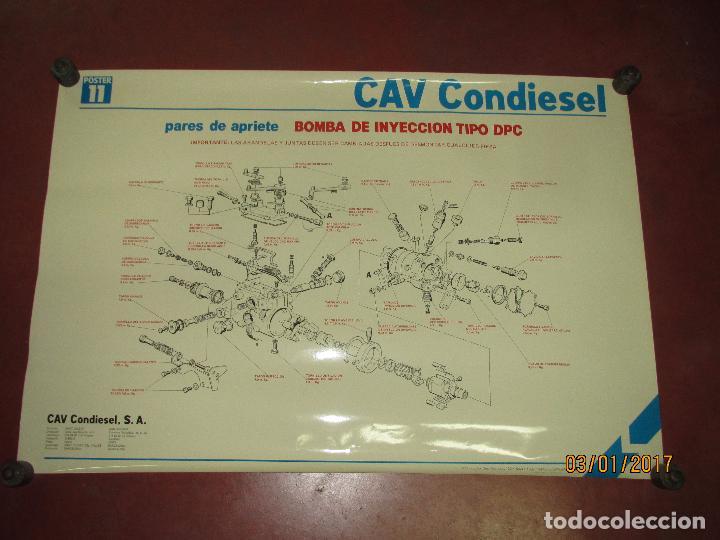 Coches y Motocicletas: Antiguo Cartel Gigante 84x58 cm. de Bomba de Inyección Tipo DPC de CAV CONDIESEL - Año 1982 - Foto 2 - 71687667