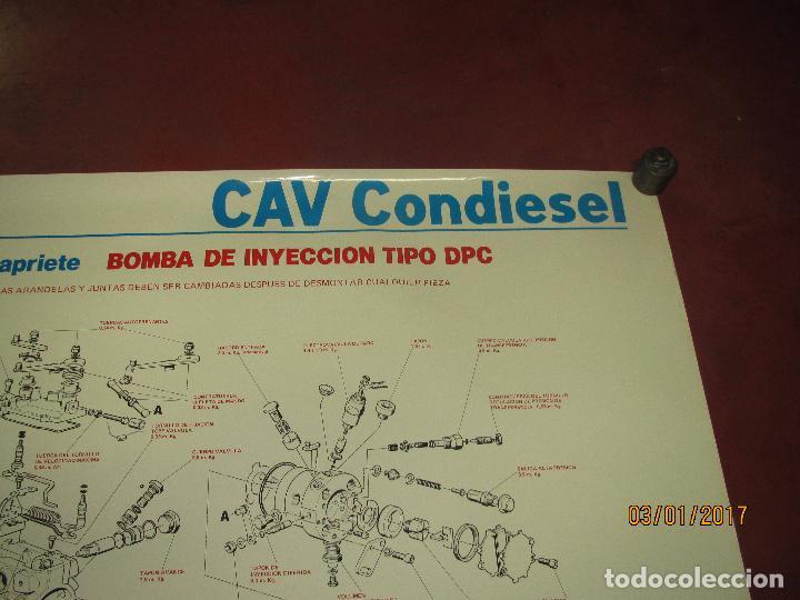 Coches y Motocicletas: Antiguo Cartel Gigante 84x58 cm. de Bomba de Inyección Tipo DPC de CAV CONDIESEL - Año 1982 - Foto 3 - 71687667
