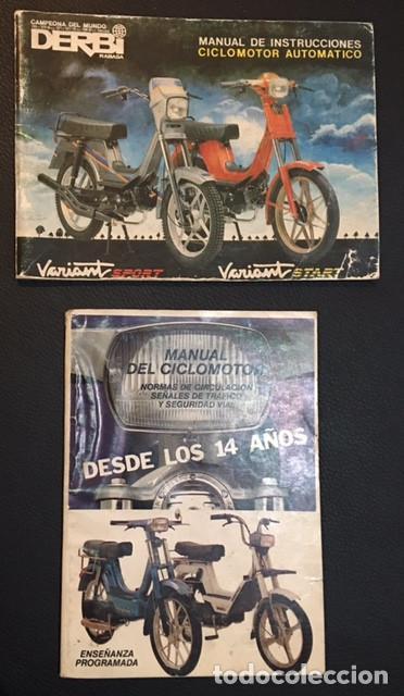 LOTE MANUAL DE INSTRUCCIONES DEL CICLOMOTOR AUTOMATICO DERBI VARIANT SPORT START (Coches y Motocicletas Antiguas y Clásicas - Catálogos, Publicidad y Libros de mecánica)