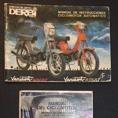 Coches y Motocicletas: LOTE MANUAL DE INSTRUCCIONES DEL CICLOMOTOR AUTOMATICO DERBI VARIANT SPORT START . Lote 72058275