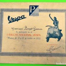 Coches y Motocicletas: ANTIGUO DIPLOMA CARTEL I RALLYE NACIONAL DE MOTO VESPA AÑO 1953.. Lote 72172251