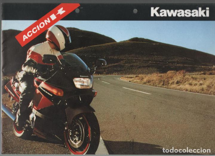 (TC-12) CATALOGO DIPTICO MOTO KAWASAKI ACCION K (Coches y Motocicletas Antiguas y Clásicas - Catálogos, Publicidad y Libros de mecánica)