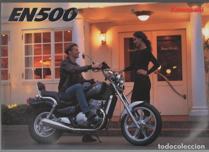 (TC-12) CATALOGO DIPTICO MOTO KAWASAKI EN500 (Coches y Motocicletas Antiguas y Clásicas - Catálogos, Publicidad y Libros de mecánica)