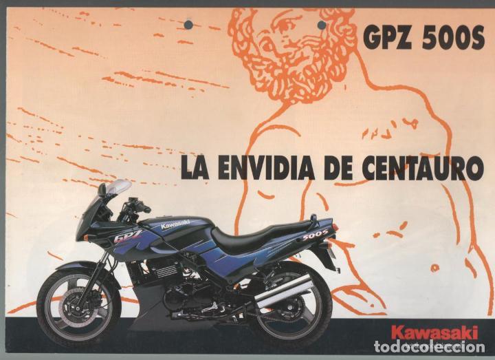 (TC-12) CATALOGO DIPTICO MOTO KAWASAKI GPZ 500S (Coches y Motocicletas Antiguas y Clásicas - Catálogos, Publicidad y Libros de mecánica)