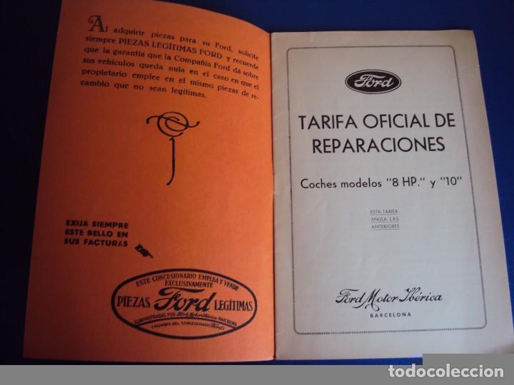 Coches y Motocicletas: (CAT-170125)TARIFA OFICIAL DE REPARACIONES FORD MODELOS 8 HP y 10,AÑOS 20,CASTELLANO,11 PAGINAS - Foto 2 - 73661119