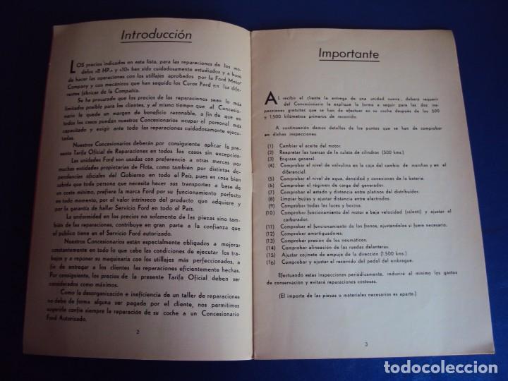 Coches y Motocicletas: (CAT-170125)TARIFA OFICIAL DE REPARACIONES FORD MODELOS 8 HP y 10,AÑOS 20,CASTELLANO,11 PAGINAS - Foto 3 - 73661119
