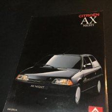 Coches y Motocicletas: FOLLETO CATALOGO PUBLICIDAD ORIGINAL CITROEN AX NIGHT 1990 CITROËN. Lote 74140991