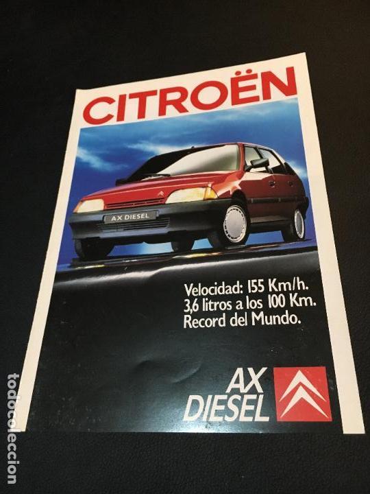 FOLLETO CATALOGO PUBLICIDAD ORIGINAL CITROEN AX DIESEL 1988 CITROËN (Coches y Motocicletas Antiguas y Clásicas - Catálogos, Publicidad y Libros de mecánica)