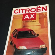 Coches y Motocicletas: FOLLETO CATALOGO PUBLICIDAD ORIGINAL CITROEN AX 1987 CITROËN. Lote 74141371