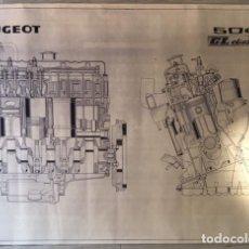 Carros e motociclos: ANTIGUO CARTEL POSTER DE 1975 DESPIECE PEUGEOT 504 GL DIESEL. Lote 75491259