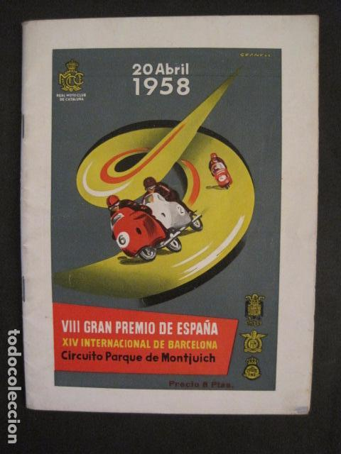 CARRERAS MOTOCICLETAS -VIII GRAN PREMIO DE ESPAÑA-MONTJUICH BARCELONA-AÑO 1958-VER FOTOS - (V-8917) (Coches y Motocicletas Antiguas y Clásicas - Catálogos, Publicidad y Libros de mecánica)