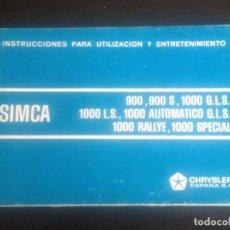 Coches y Motocicletas: SIMCA 900 1000 S GLS LS AUTOMATICO RALLY RALLYE SPECIAL - MANUAL USUARIO ORIGINAL - CHRYSLER ESPAÑA. Lote 75680207