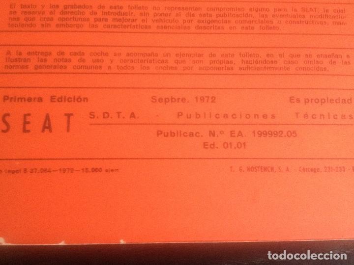 Coches y Motocicletas: SEAT 850 D - MANUAL USUARIO ORIGINAL - SEPTIEMBRE 1972 - Foto 3 - 75688415