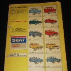 Coches y Motocicletas: GUIA DE TASACIONES SEAT - 1 FEBRERO 1983 850, 133, 127, FURA, 1200, 128, 124, 131, 132, RITMO, PANDA. Lote 75793591