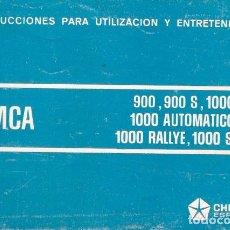 Coches y Motocicletas: MANUAL INSTRUCCIONES Y MANTENIMIENTO ORIGINAL SIMCA 1000 AUTOMATICO G.LS. RALLYE , SPECIAL . Lote 75969679