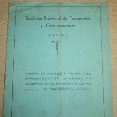 Coches y Motocicletas: SINDICATO PROVIVINCIAL DE TRANSPORTES Y COMUNICACIONES - OVIEDO - TARIFAS AÑO 1967. Lote 76395135
