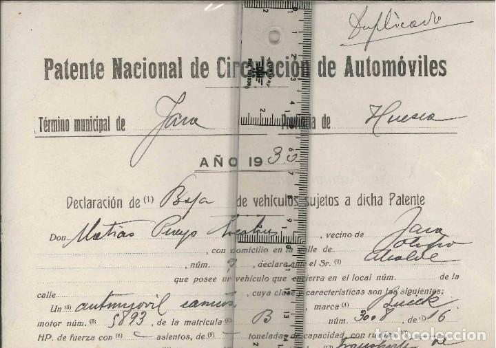 PATENTE NACIONAL DE CIRCULACION DE AUTOMOVILES 1930 (Coches y Motocicletas Antiguas y Clásicas - Catálogos, Publicidad y Libros de mecánica)