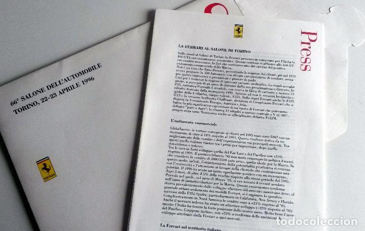 Coches y Motocicletas: DOSSIER DE PRENSA OFICIAL FERRARI - 66º SALONE DELL'AUTOMOBILE TORINO 1996 Texto en ITALIANO. - Foto 2 - 77815097
