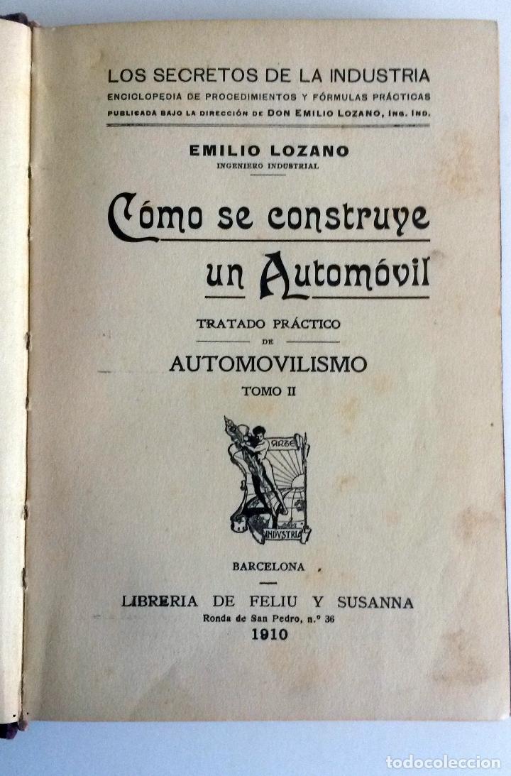 Coches y Motocicletas: LIBRO: COMO SE CONSTRUYE UN AUTOMÓVIL. Año 1910. - Foto 2 - 78152517