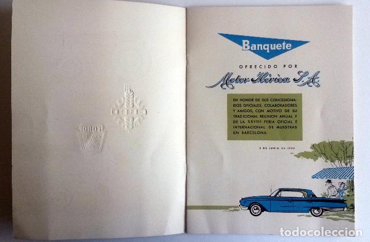 Coches y Motocicletas: CARTA DE UN BANQUETE OFRECIDO POR MOTOR IBÉRICA, S.A. Año 1960. CON DETALLE DEL MENÚ Y DEL ESPECTÁC - Foto 2 - 78153737
