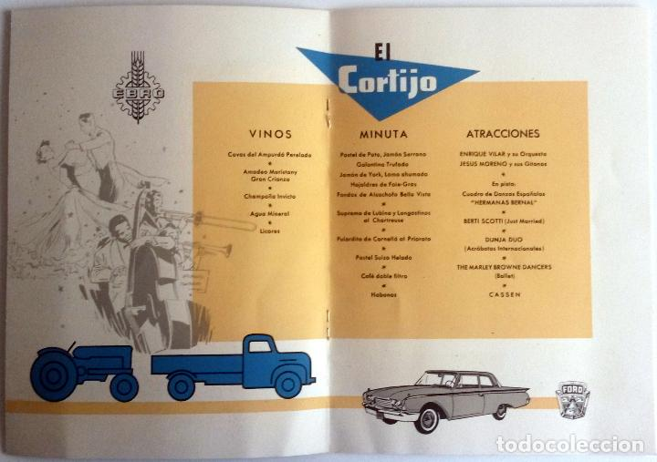 Coches y Motocicletas: CARTA DE UN BANQUETE OFRECIDO POR MOTOR IBÉRICA, S.A. Año 1960. CON DETALLE DEL MENÚ Y DEL ESPECTÁC - Foto 3 - 78153737