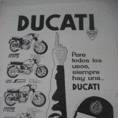 Coches y Motocicletas: DUCATI. HOJA PUBLICITARIA 25 X 17 CMS. . Lote 78497413