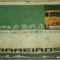 Coches y Motocicletas: BARREIROS - CAMIONES SAETA 45 55 65 75 - INSTRUCCIONES PARA UTILIZACIÓN Y MANTENIMIENTO. Lote 79598033