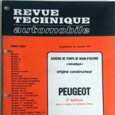 Coches y Motocicletas: PEUGEOT - REVUE TECHNIQUE AUTOMOBILE -E.T.A.I. SUPLEMENTO Nº 410.. Lote 80634650