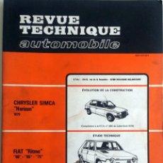 Coches y Motocicletas: CHRYSLER SIMCA HORIZON + FIAT RITMO - REVUE TECHNIQUE AUTOMOBILE -E.T.A.I. Nº 392 - SEPTIEMBRE 197. Lote 80637986
