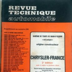 Coches y Motocicletas: CHRYSLER FRANCE - REVUE TECHNIQUE AUTOMOBILE -E.T.A.I. SUPLEMENTO Nº 374.. Lote 80639630