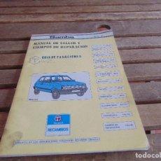 Coches y Motocicletas: MANUAL DE TALLER Y TIEMPOS DE REPARACION TALBOT SAMBA MAYO 1982. Lote 80780306