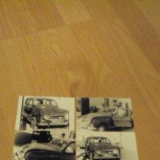 Coches y Motocicletas: LOTE DE 5 FOTOS DE UN RENAULT 4 ACCIDENTADO DE LOS AÑOS 60. Lote 81119800