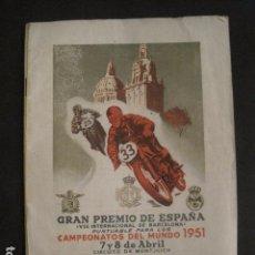 Coches y Motocicletas: PROGRAMA GRAN PREMIO ESPAÑA-CAMPEONATO MUNDO MOTOCICLISMO 1951 -VER FOTOS -(V-10.236). Lote 81808080
