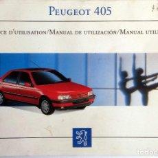 Coches y Motocicletas: MANUAL INSTRUCCIONES ORIGINAL PEUGEOT 405.. Lote 81823940