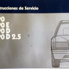 Coches y Motocicletas: MANUAL INSTRUCCIONES ORIGINAL MERCEDES-BENZ 190, 190E, 190D, 190D 2.5.. Lote 82022024
