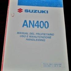 Coches y Motocicletas: MANUAL DEL PROPIETARIO SUZUKI BURGMAN AN400 - ESPAÑOL/ITALIANO/ALEMÁN. Lote 82182524