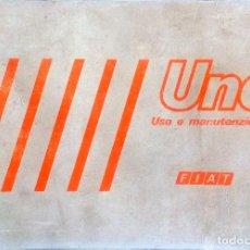 Coches y Motocicletas: MANUAL INSTRUCCIONES ORIGINAL FIAT UNO. IDIOMA: ITALIANO.. Lote 82326284