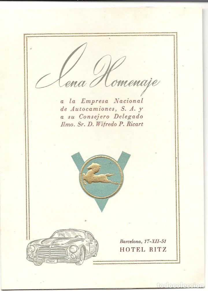 1951.COCHE PEGASO-ENASA.MINUTA CENA HOMENAJE WIFREDO RICART. CONSEJERO. (Coches y Motocicletas Antiguas y Clásicas - Catálogos, Publicidad y Libros de mecánica)