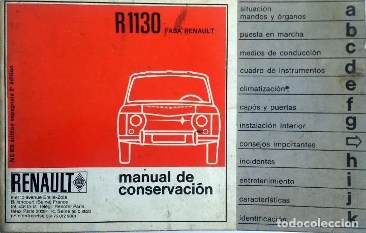 MANUAL INSTRUCCIONES ORIGINAL RENAULT 8 - R 1130. (Coches y Motocicletas Antiguas y Clásicas - Catálogos, Publicidad y Libros de mecánica)